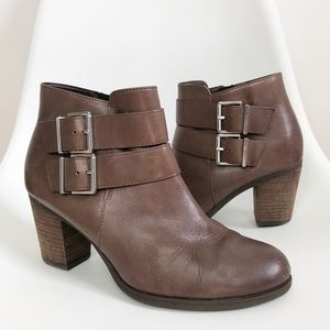 CLARKS | Dark Brown Leather Buckle Ankle Booties